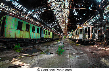 train, quelques-uns, abandonnés, dépôt, trains