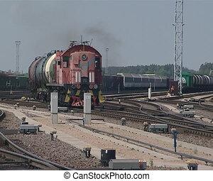 train, réservoirs, porter, huile
