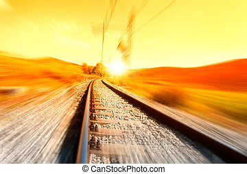 Train rail background at sunrise