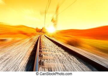 Train rail background at sunrise
