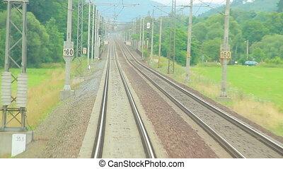Train railroad - Train moving through green grassed...
