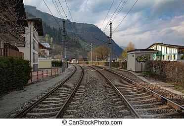 train rails in austrian alpine ski village