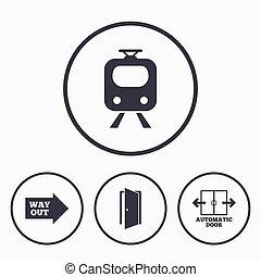 Train railway icon. Automatic door symbol. Way out arrow...
