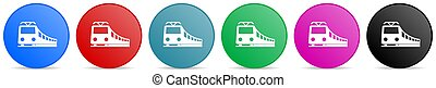 Train, railway, transportation vector icons, set of circle gradient buttons in 6 colors options for webdesign and mobile applications