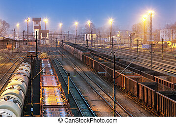 Train railway with freight station, Transportation