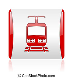 train red and white square web glossy icon