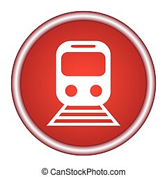 train red vector icon, circle flat design internet button, web and mobile app illustration