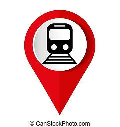Train red vector icon, flat design internet button, web and mobile app illustration??????