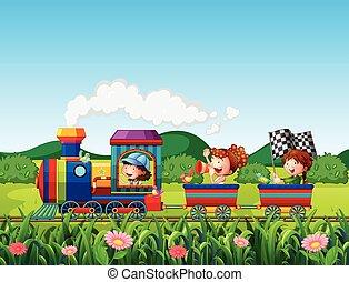 Train ride - Children riding on train in the park