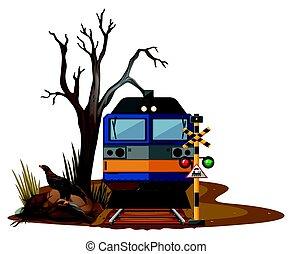 Train ride in dry desert