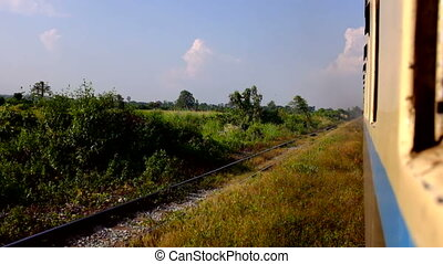 Train ride in Myanmar - Train ride in the countryside from...