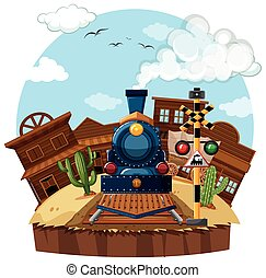 Train ride in the west illustration