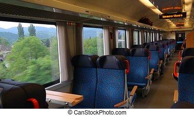 Train ride interior - Interior of a passenger train with...
