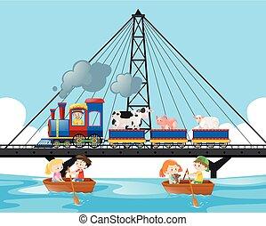 Train ride on the bridge