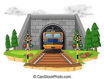 Train ride on the railroad