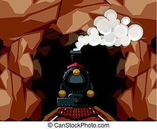 Train ride through the cave
