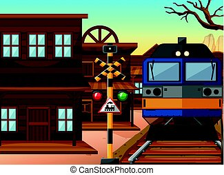 Train ride through western town