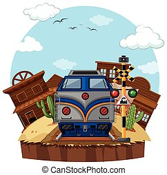 Train ride to the West illustration