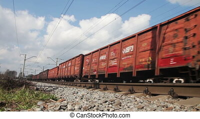Train Rides on Rails. The train moving at a high speed on...