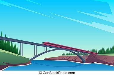 Train rides over the bridge 02