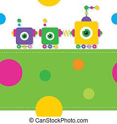 train, robots, carte voeux