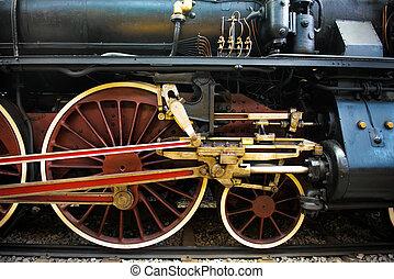 train, roues, vieux, vapeur