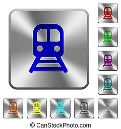 Train rounded square steel buttons