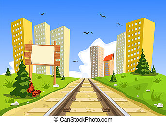 Train route into the city through the landscape