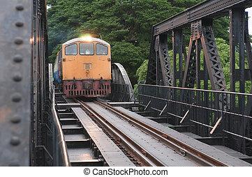 train running on the bridge