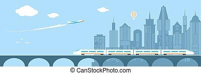 Train running through the city. Railway and bridge