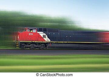 Train Rush. Speeding American Train. Railroad Collection.