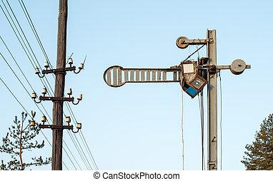 Train Semaphore mechanical. Vintage semaphore