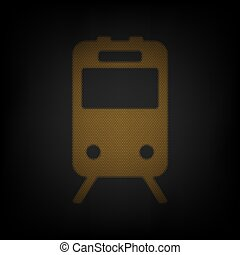 Train sign. Icon as grid of small orange light bulb in darkness. Illustration.