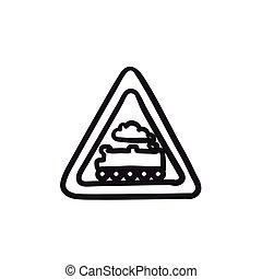 Train sign sketch icon.