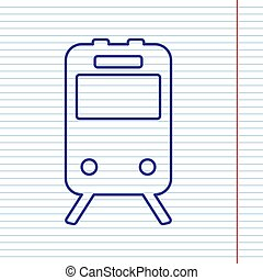 Train sign. Vector. Navy line icon on notebook paper as background with red line for field.