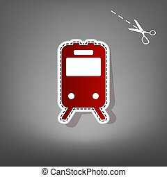Train sign. Vector. Red icon with for applique from paper with shadow on gray background with scissors.