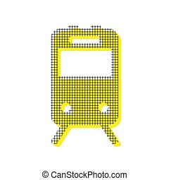 Train sign. Vector. Yellow icon with square pattern duplicate at