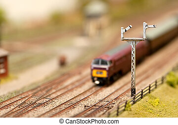 miniature locomotive passing signals with shallow d.o.f