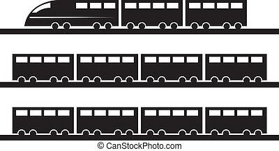 Train Silhouette  - Modern train on tracks silhouette