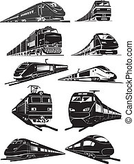 train silhouettes - cargo and passenger train silhouettes