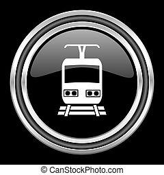 train silver chrome metallic round web icon on black background
