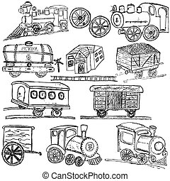 Train sketch icons - Doodle train sketch elements isolated...