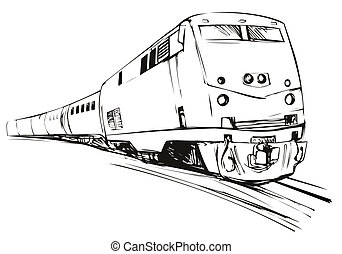 Train Sketch Style - Illustration of a black and white train...