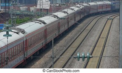 train slowly passing,intercity traffic in china.