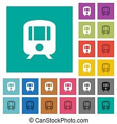 Train square flat multi colored icons
