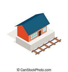 Train station building icon, isometric 3d style