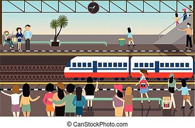 train station busy illustration vector flat city transportation cartoon activities