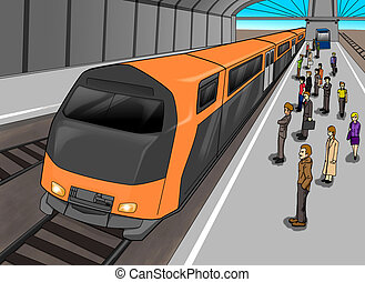 Train Station - Cartoon illustration of people waiting at...