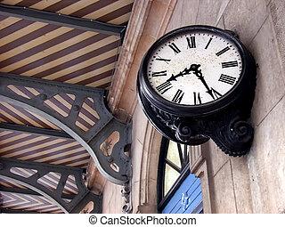 train,  station, horloge