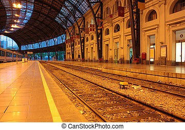 Train Station - Track and platforms of France station,...